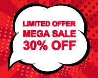 Duży zimy sprzedaży plakat z LIMITOWANEJ oferty MEGĄ sprzedażą 30 procentów Z teksta Reklamowy wektorowy sztandar Obraz Stock