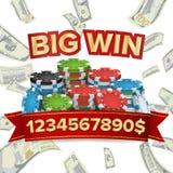Duży zwycięzcy plakata wektor Ty wygrywasz Wybuchu pieniądze Uprawiać hazard grzebaków układy scalonych royalty ilustracja