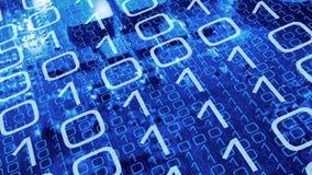 Dużych dane analityka binarne cyfry, nauka i technika ilustracja wektor