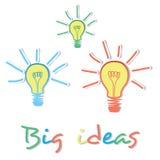 Dużych pomysłów żarówki kreatywnie pojęcie Fotografia Royalty Free