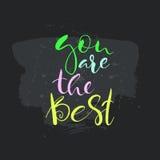 Du är den bästa texten Kort med kalligrafi Royaltyfri Bild
