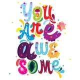 Du är det enorma färgrika meddelandet med abstrakt blom- design stock illustrationer