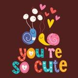 Du är det så gulliga valentinförälskelsekortet Royaltyfria Bilder
