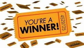 Du är en lycka för vinnaretombolalottsedlar Royaltyfri Fotografi