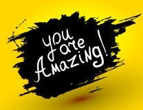 Du är fantastisk! Calligraphic inspirerande design för vektor Fotografering för Bildbyråer