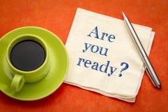 Du är klar? En fråga på servett arkivfoton