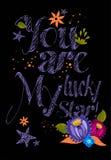 Du är lycklig min stjärna! typografisk design Royaltyfri Fotografi