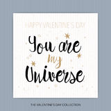 Du är mitt universum - romantisk vektortypografi Arkivbild