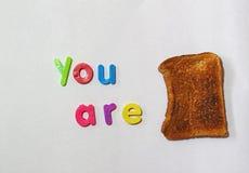 Du är rostat bröd, eller färdigt eller i problem metafor Fotografering för Bildbyråer