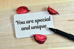 Du är special och unik Royaltyfri Fotografi