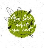 Du är vad som är din äta Handbokstäveraffisch stock illustrationer