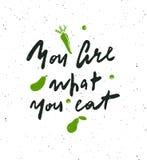 Du är vad som är din äta Handbokstäveraffisch royaltyfri illustrationer