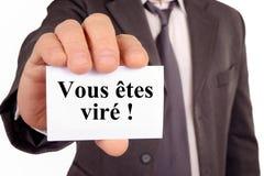 Du avfyras i franskt fotografering för bildbyråer