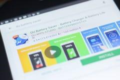 DU Bateria Ciułacz ikona na liście mobilni apps Ryazan Rosja, Kwiecień - 19, 2018 - Obraz Royalty Free