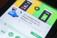 DU Bateria Ciułacz wisząca ozdoba app na pokazie pastylka pecet Ryazan Rosja, Kwiecień - 19, 2018 - Zdjęcia Stock