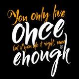 Du bor endast en gång men, om du gör det rätten, är en gång nog stock illustrationer