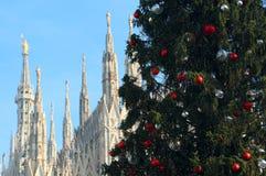 Duża choinka i katedra Milan w Italy w backgr Zdjęcie Royalty Free