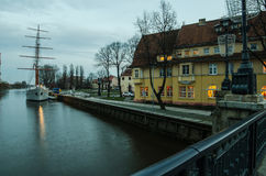 Duńczyk rzeka w Klaipeda (Lithuania) Zdjęcia Stock