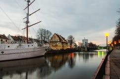Duńczyk rzeka w Klaipeda (Lithuania) Obrazy Royalty Free