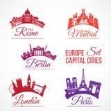 Duże Europa stolicy royalty ilustracja