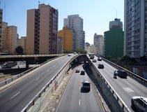 Dużego miasta multilevel droga w sao Paulo Zdjęcie Stock