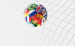 But du football le ballon de football marque le concept dans le renderin du filet 3d du football Images stock