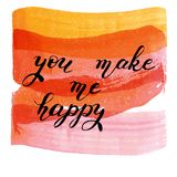 Du gör mig lycklig, handen dragen bokstäver på vattenfärgtextur Royaltyfri Fotografi