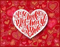 Du gör min hjärta att le kalligrafidesign på den röda pappers- handen dra stock illustrationer