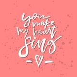 Du gör min hjärta att sjunga - inspirerande H för valentindagromantiker Royaltyfria Foton