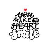 Du gör mitt hjärtaleende - vektorillustration Svart handskriven inskrift på vit bakgrund Märka för vektor illustrationer