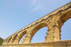 Du Gard van Pont brugfragment Stock Afbeelding