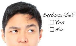 du gillar att prenumerera? Arkivbild