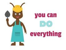Du kan göra allt Motivational uttryck Myrabyggmästare i en hjälm med en murslev stock illustrationer