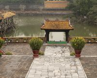 Du Khiem boat landing in Tu Duc Royal Tomb, Hue, Vietnam. Pictured is Du Khiem boat landing, a covered landing where the Emperor Tu Duc could disembark after his stock image