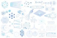 Duża kolekcja elementy, symbole i plany physics, ilustracja wektor
