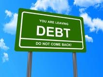 Du lämnar skuld undertecknar stock illustrationer
