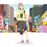 Duża miasto dziewczyna Zdjęcie Stock