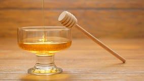 Du miel est versé dans un bol en verre (aucun 2) banque de vidéos