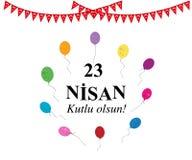 Du ` national s 23 avril jour de la souveraineté et d'enfants avec le ballon coloré illustration libre de droits