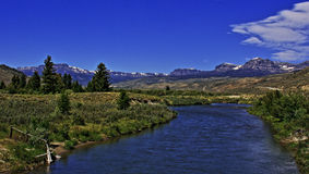 Du Noir Creek just outside of Dubois Wyoming with Breccia Cliffs and Breccia Peak Royalty Free Stock Image