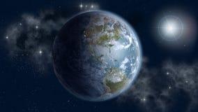 Du nord et sud Amériques dans le lever de soleil Images stock