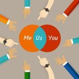 Du och jag är oss begreppet av synergi för byggnad för gemenskap för samarbete för anden för lagarbetsförhållandet i cirkeldiagra stock illustrationer