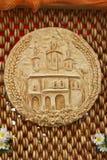 Du pain, décoré de l'image du temple, est situé sur le Th Image libre de droits