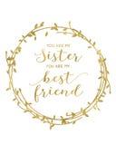 Du är min syster som du är min bästa vän Royaltyfria Bilder