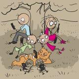 Duża rodzina pod drzewem Everyone spojrzenia przy telefonem Fotografia Stock