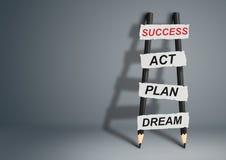 Du rêve au concept de succès, échelle de crayon avec l'espace de copie Photo stock