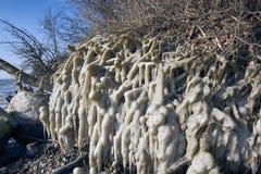 Duńska linia brzegowa w zimie po wschodniej burzy Obraz Royalty Free