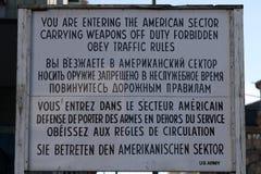Du skriver in den amerikanska sektoren Arkivfoton