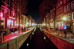 Du Wallen at night. Night scene at Du Wallen, red light district in Amsterdam Royalty Free Stock Photo