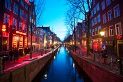 Du Wallen at night. Night scene at Du Wallen, red light district in Amsterdam Royalty Free Stock Photography